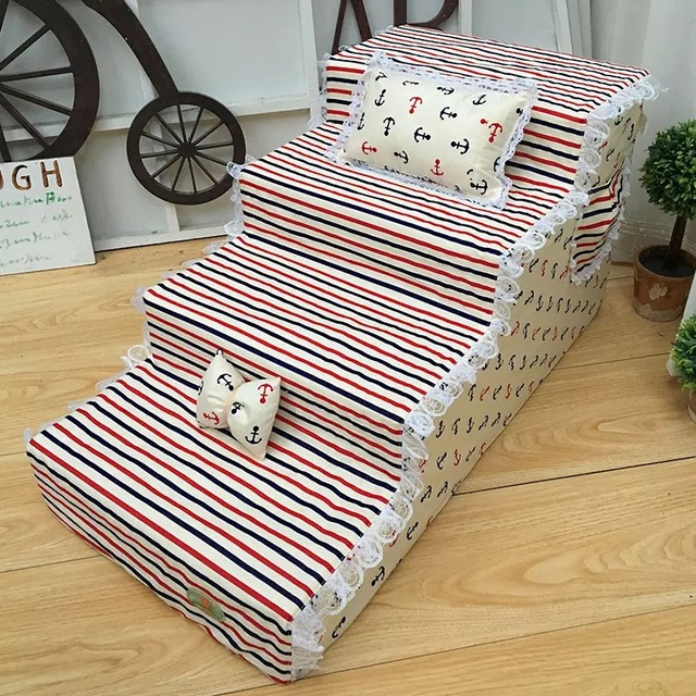 Pet Stairs Cute Pet Bed Stairs Dog Stairs Puppy Steps Anti-Slip Cotton Comfortable Fabric Pet Toy Stair