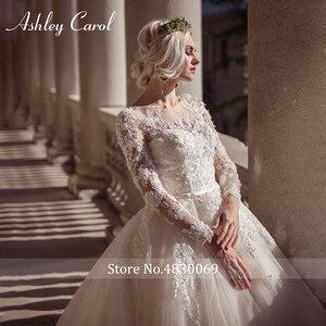 Image 3 - Ashley Carol Lace Ball Gown Wedding Dress 2020 Sexy Scoop Long Sleeve Beading Luxury Princess Bridal Dresses Vestido De Novia