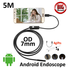 7mm 5M Android OTG USB Endoscope Camera IP67 Waterproof Snake Tube Inspection Borescope Android OTG USB Camera HD720P 6LED