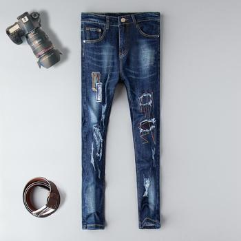 2019 Autumn Patchwork straight men jeans cotton distressed ripped hole fashion Gothic plus size 38 homme denim blue trousers