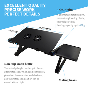 Image 2 - Aluminum Alloy Adjustable Laptop Stand Laptop Desk Bed Standing Notebook Stand With Cooling Fan Mouse Board For Bed Sofa Tray