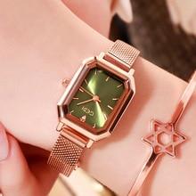 купить Women Quartz Watches Fashion Lady Rectangle Watch Rose Gold Steel Mesh Casual Waterproof Wristwatch Gift relogio feminino 2019 по цене 1121.31 рублей