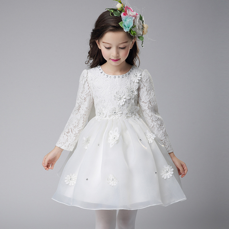 New Style Autumn Winter Long Sleeve Princess Toddler Girls Cotton Lace Mesh Bowknot Christening Show Stage Wedding Formal Dress acthink 2017 new girls formal solid lace dress shirt brand princess style long sleeve t shirts for girls children clothing mc029