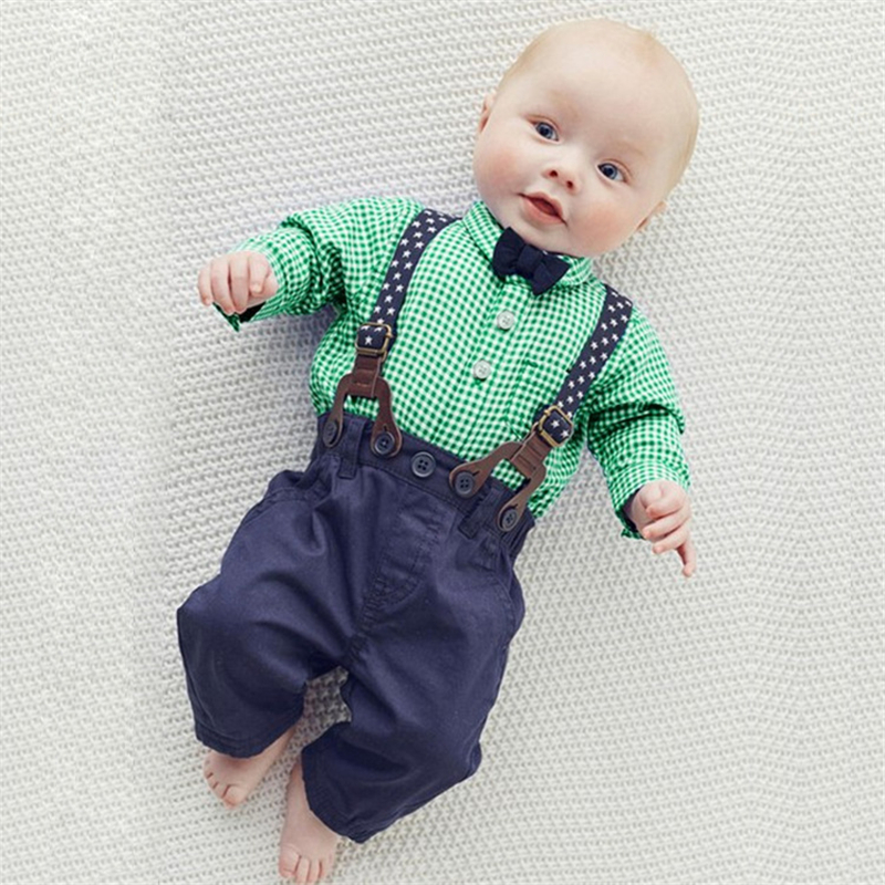 2017 New Spring Autumn Baby Boys Long Sleeve Plaid Bowtie Shirt and Belt Pants 2pcs Newborn Infant Kids Clothing Set Outfits