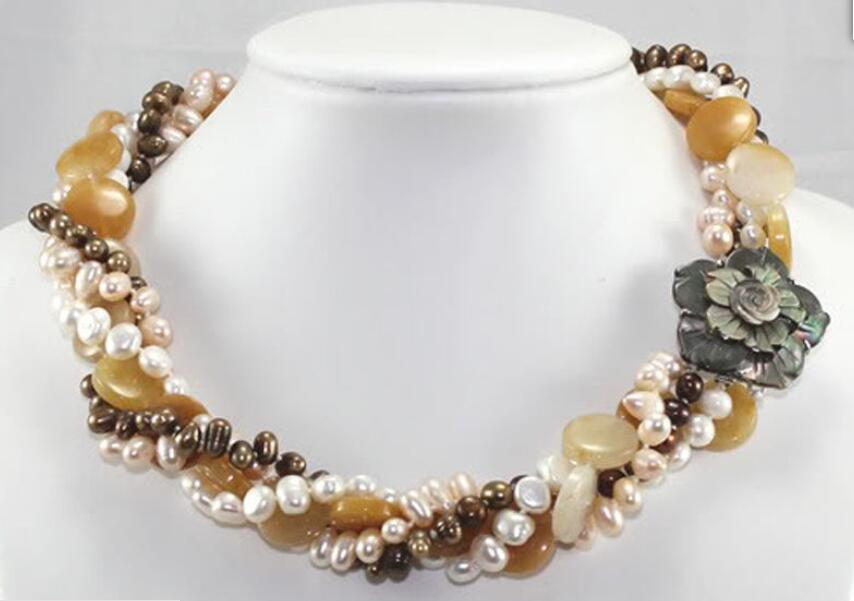 Beautiful 4row Natural Cultured Pearl & Yellow beads Necklace 18