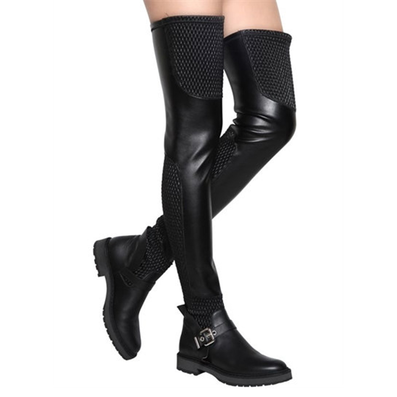 2018 Fashion Winter Women Long Boots Shoes Sexy Over-the-knee Boots Genuine Leather Elastic Motorcycle Boots Thigh High Boots women s winter platform flats over the knee boots brand designer genuine suede leather patchwork elastic long boots shoes women