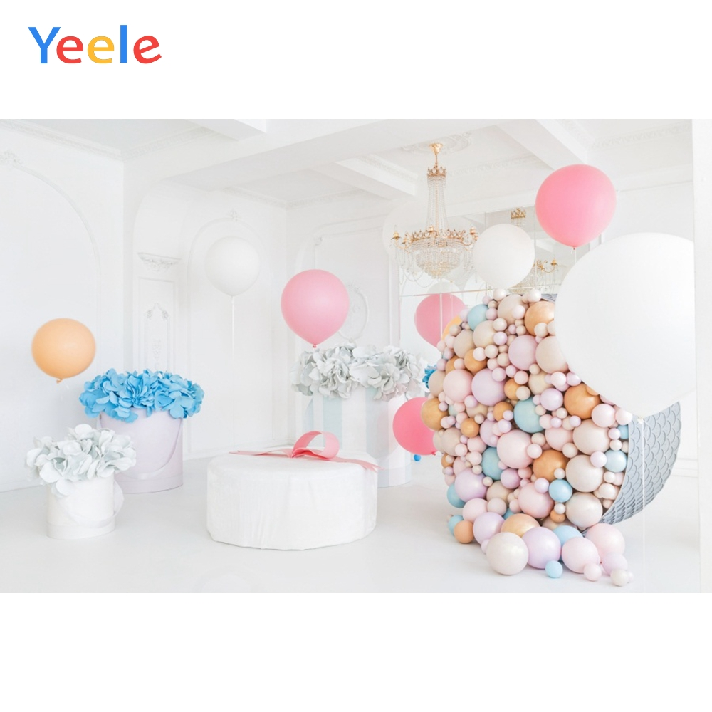 Yeele Colorful Balloons Flowers Baby Newborn Child Photography Backgrounds Customized Photographic Backdrops For Photo Studio