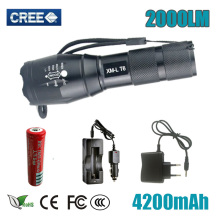 Tactical LED Flashlight CREE XML T6 Torch 5Mode Zoomable 2000LM Focus Lamp lantern +18650 Rechargeable battery +AC / Car Charger