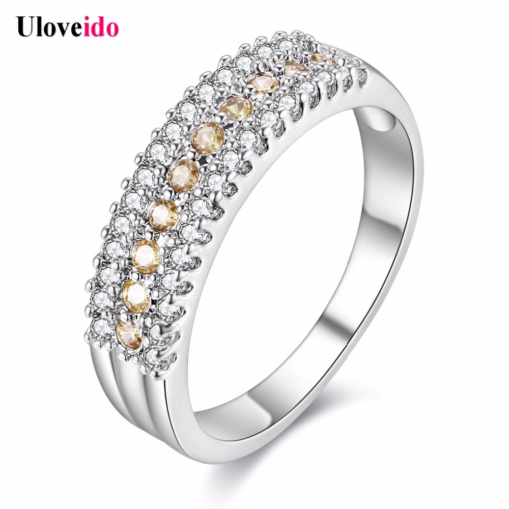 Uloveido 5% Off Rings For Women Silver Jewelry Crystal Romantic Engagement  Ring With Stones Bijoux