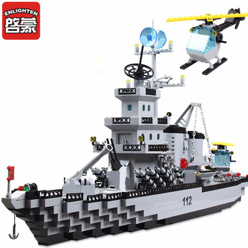 Enlighten 970+PCS Building Blocks Military Cruiser Model Blocks Girls&Boys Educational Blocks Building Toys For Children Gift