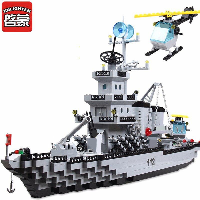 Oświeć 970 + sztuk klocki wojskowy krążownik Model bloki dziewcząt i chłopców edukacyjne bloki budowlane zabawki dla dzieci prezent w Klocki od Zabawki i hobby na  Grupa 1