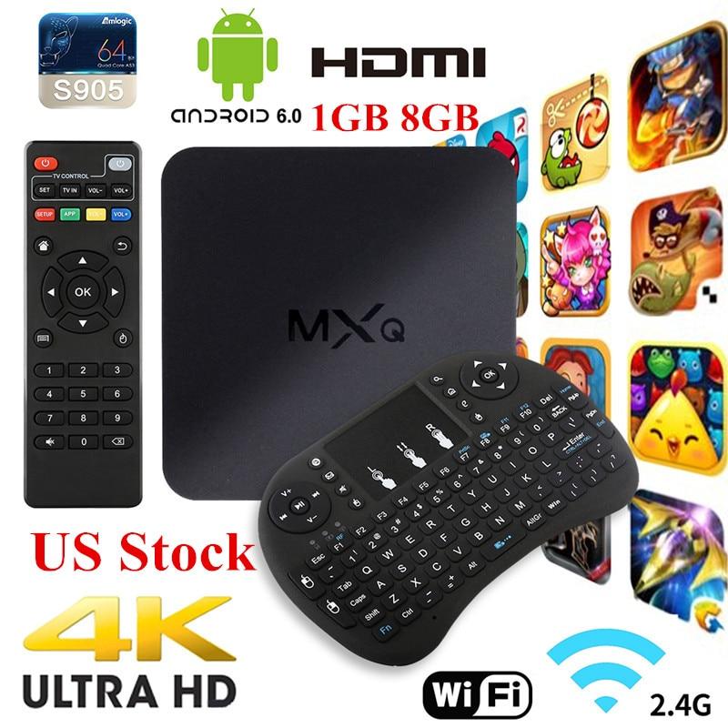 Set-top Box MXQ 4K TV BOX Amlogic S805 Quad Core 1+8GB Unlocked Android Fully Loaded Kodi Streaming Media Player + USB Keyboard 2016 android tv box t10 smart mini pc amlogic s805 quad core 1g 8g 4k media player 3d home movie wifi kodi 16 0 fully loaded