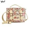 ZIWI Brand New Vintage Flower Print Women Messenger Bags Cotton Fabric Shoulder Bags ZW141003D