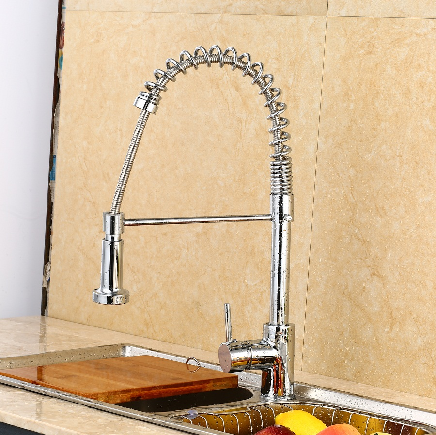 Modern Creative Spring Pull Out Kitchen Sinks Faucet ,Brass Material  Hot and Cold Wash Basin Mixer  Sprayer Tap   torneira kitchen chrome plated brass faucet single handle pull out pull down sink mixer hot and cold tap modern design