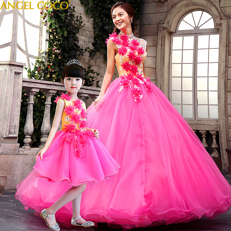 Real Photos Party Elegant Pink Girls Clothes Clothes.Woman Mother Daughter Dresses Mom Princess Gown Family Matching Outfits family matching outfits kids girls and mom clothes floral print dress mom girls pleated party skirts mother and daughter dresses