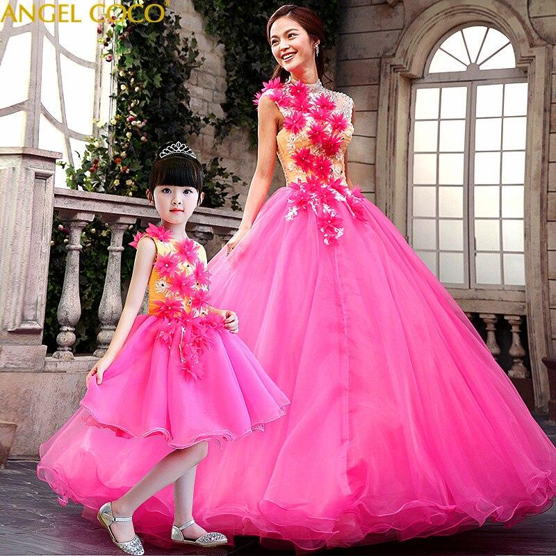 Vraies Photos fête élégant rose filles vêtements vêtements. femme mère fille robes maman princesse robe famille correspondant tenues