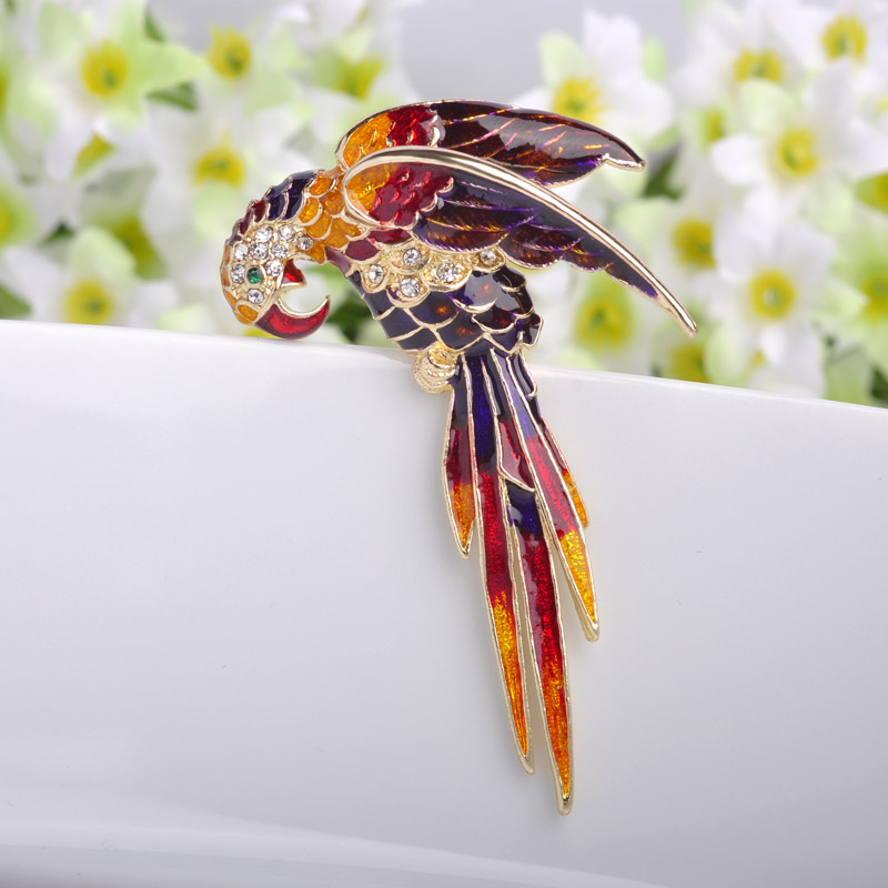 Nice Red Birds Brooch Pin Perfect Enamel Brooches կանանց ծննդյան նվեր Broche Gold Brooches Pins