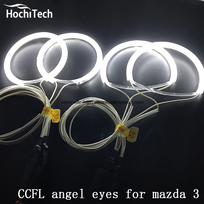 HochiTech WHITE 6000K CCFL Headlight Halo Angel Demon Eyes Kit angel eyes light for Mazda 3 <font><b>mazda3</b></font> 2002 2003 2004 2005 2006 <font><b>2007</b></font> image