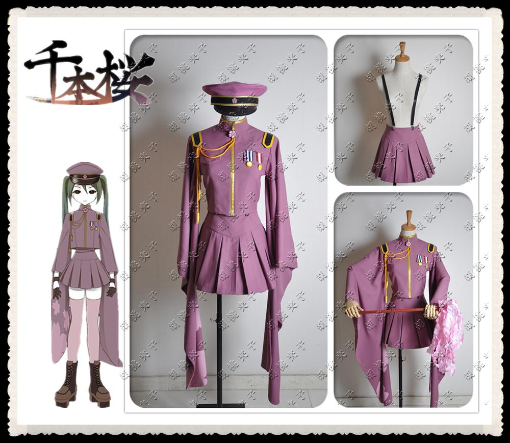 Anime Senbonzakura Vocaloid Hatsune Miku Cosplay Costume Halloween Party Cosplay Army Uniform