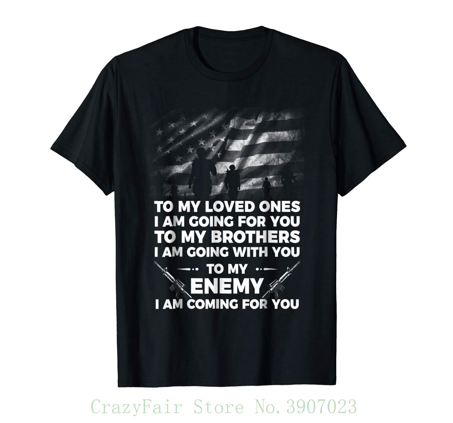 Veterans Shirt , To My Enemy I Am Coming For You Men's High Quality Custom Printed Tops Hipster Tees