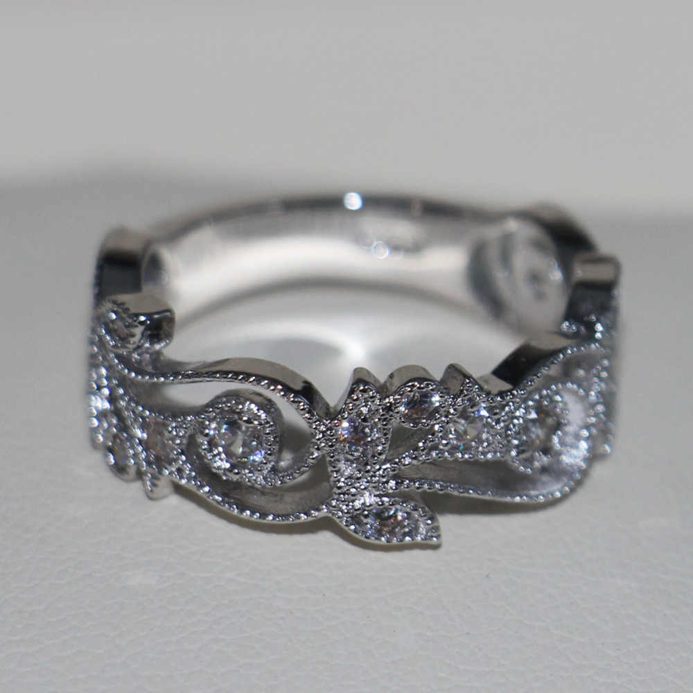 Choucong Wieck เครื่องประดับโบราณออกแบบดอกไม้ 925 เงินสเตอร์ลิงหินจำลองงานแต่งงานแหวนหมั้นสำหรับ Love ขนาด 5-11