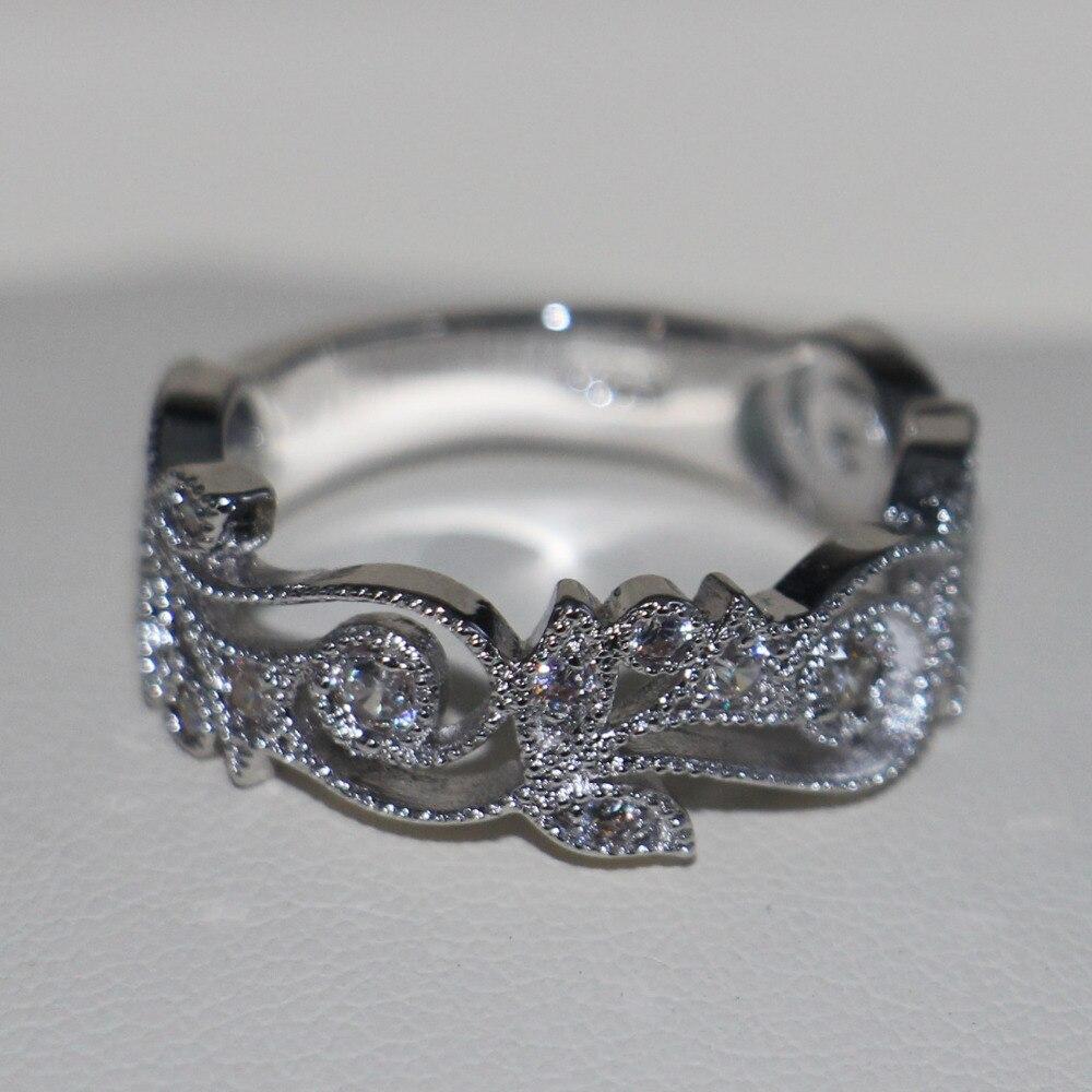 Choucong Wieck Antique bijoux fleur design 925 en argent Sterling simulé pierres de mariage bagues de fiançailles pour l'amour taille 5-11 - 6