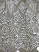 Embroidered lace French Tulle lace fabric high quality with lots of Beads African Wedding dress net lace fabrics