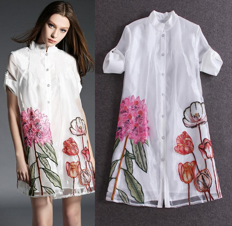 Top quality new fashion runway 2016 women 39 s dress organza for The best white dress shirt