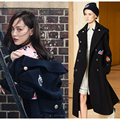 Autumn and winter white lily Tang Yan with a long paragraph woolen WOMEN coat embroidery badge military wind wool winter blends