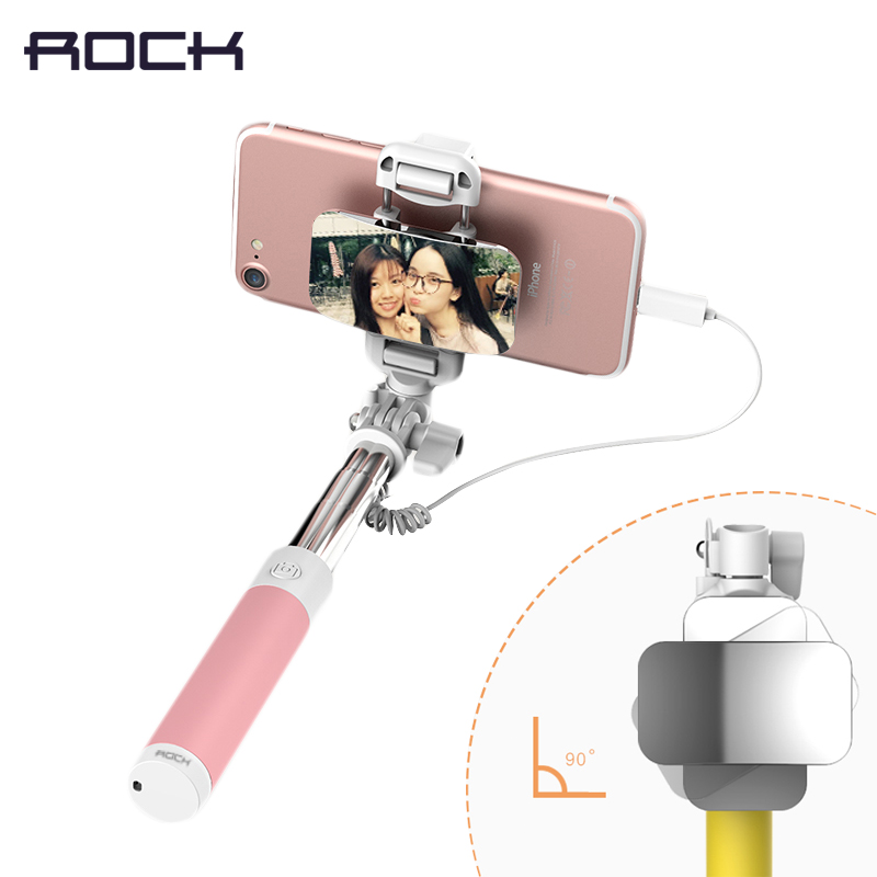 ROCK Portable Mini Selfie Stick 8 para iPhone 7 plus, teléfono con cable auto-timer extendible monopod titular para iPhone X