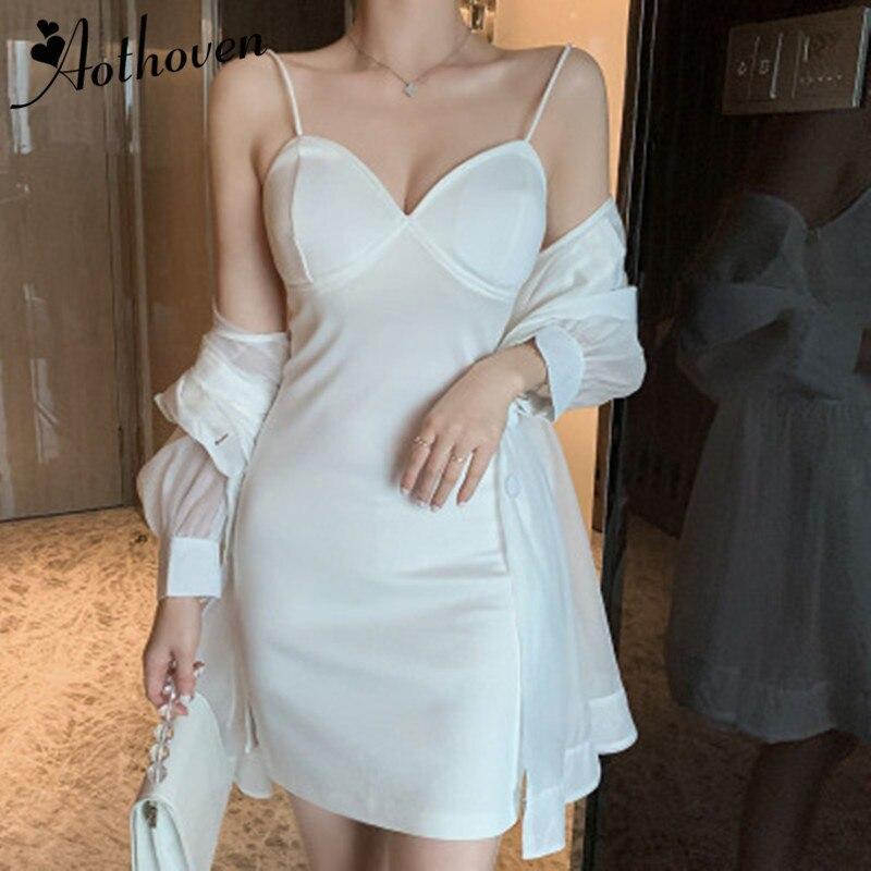 Kadın Giyim'ten Kadın Setleri'de 2 adet Set Kadın Takım Elbise 2019 Yaz Uzun Kollu Örgü Uzun Gömlek Üst ve Zarif Spagetti kemerli elbise Lady İki Adet set Vestidos'da  Grup 1