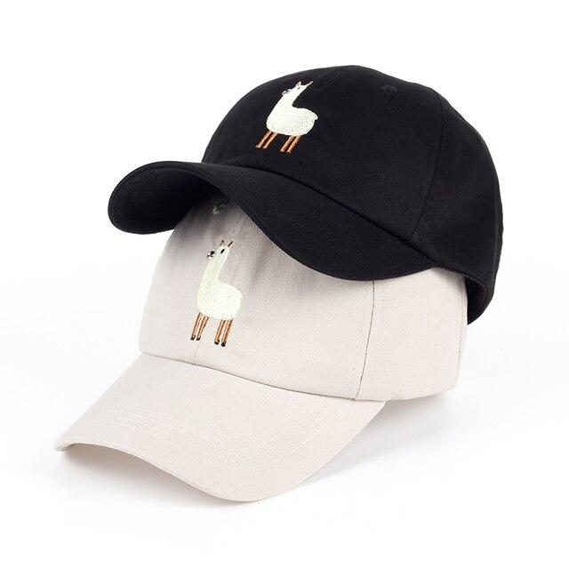 34423dc24bf44 2017 new Unisex Alpaca Embroidery Adjustable Dad Hat men handsome Alpaca Baseball  Cap women cute Black