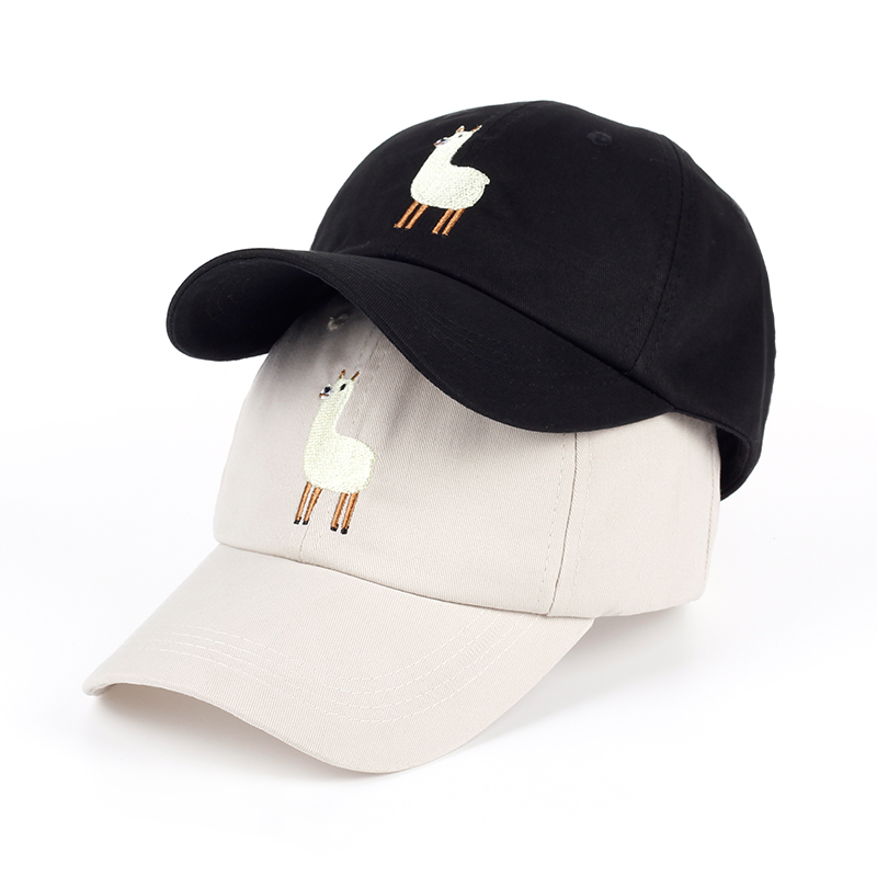 2017 new Unisex Alpaca Embroidery Adjustable Dad Hat men handsome Alpaca   Baseball     Cap   women cute Black beige dad   cap