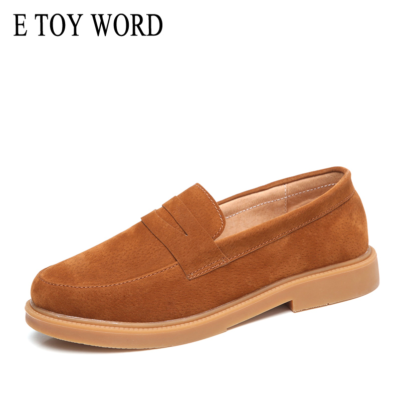 E TOY WORD   Suede     Leather   Women Flats 2019 Spring Autumn New England style Women shoes Retro Classic Loafers Four Seasons shoes