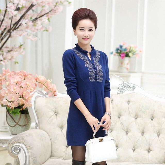 bd276910310 Women Dress 100% Pure Goat Cashmere Knitted Dresses Female New Winter Warm  Long Sweater dress