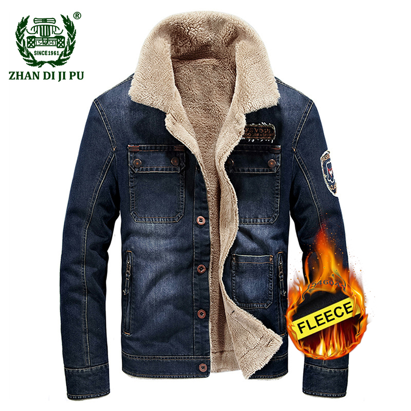 2018 Europe mens winter thicken warm casual brand fashion cowboy fleece cotton jackets man afs jeep denim blue coats outerwear