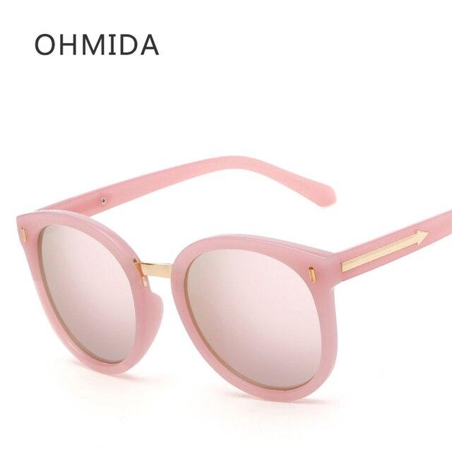 OHMIDA Mirror Sunglasses Women 2019 Arrow Round Brand Sun Glasses Female Pink UV400 Vintage Lady New Fashion Oculos De sol Gafas
