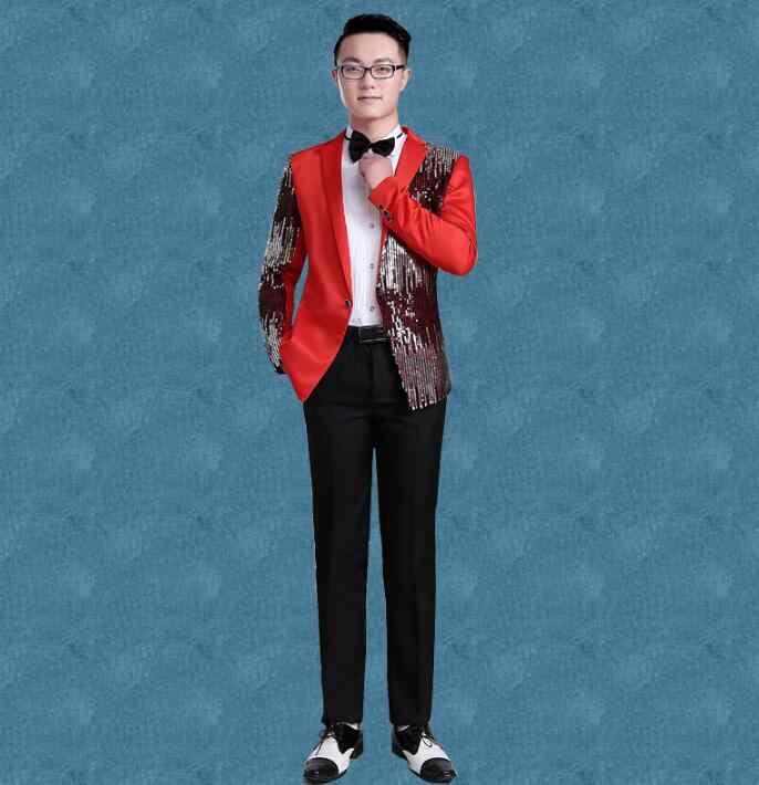 d9525ec1c522 ... Black red blue blazer men formal dress latest coat pant designs suit  men singer stage sequins ...