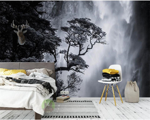 Custom wall wallpapers  Nordic black and white landscape waterfall personalized creative home decoration murals wallpaper