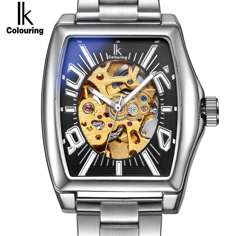 IK colouring Gold Skeleton Lxuury Watch Men Silver Steel Band Automatic Mechanical Watches Fashion Casual Business Dress relogio ik luxury fashion casual stainless steel men automatic mechanical watch skeleton watch for men s dress wristwatch free ship