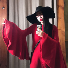 AIGYPTOS SYU New Original Design Women Novelty Personality Gorgeous Flare Sleeve Sweater Autumn Winter Straight Short Dress