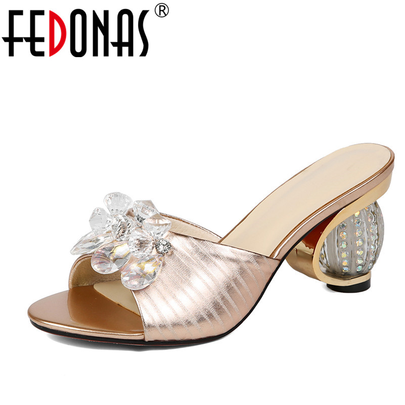 FEDONAS Women Sandals Flips Flops Summer Genuine Leather Shoes Woman Strange Heels Crystal Wedding Party Shoes Female Slippers fedonas women sandals soft genuine leather summer shoes woman platforms wedges heels comfort casual sandals female shoes