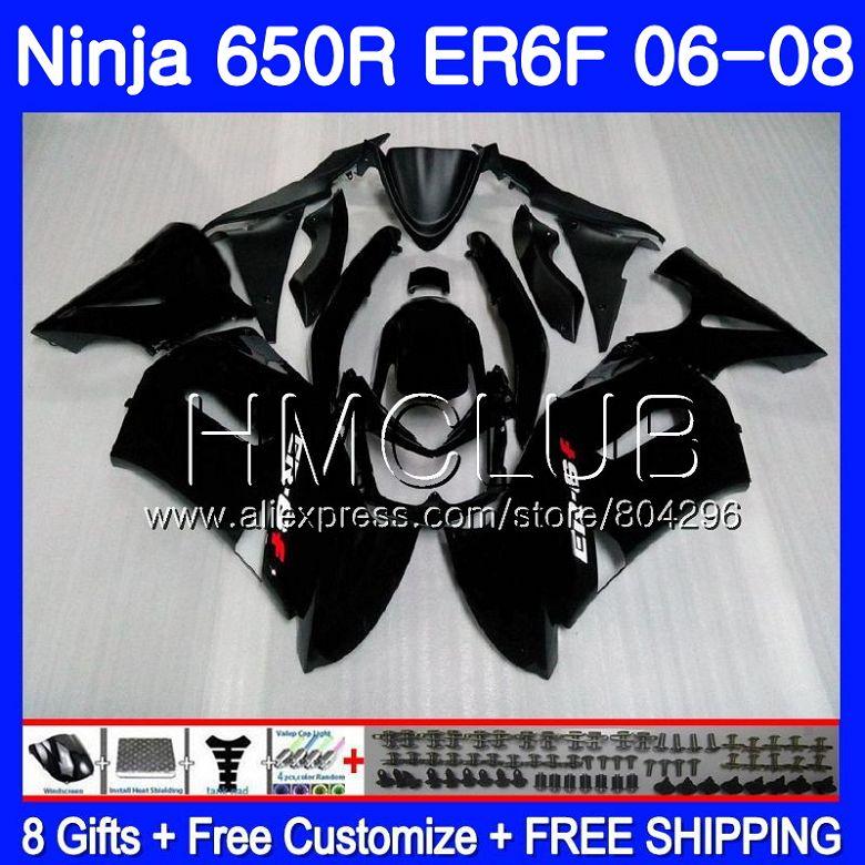 Matte black Body For KAWASAKI NINJA 650R ER6 F 650 ER6F 06 07 08 12HM.16 Ninja650R ER-6F 06 08 ER 6F 2006 2007 2008 Fairing Kit