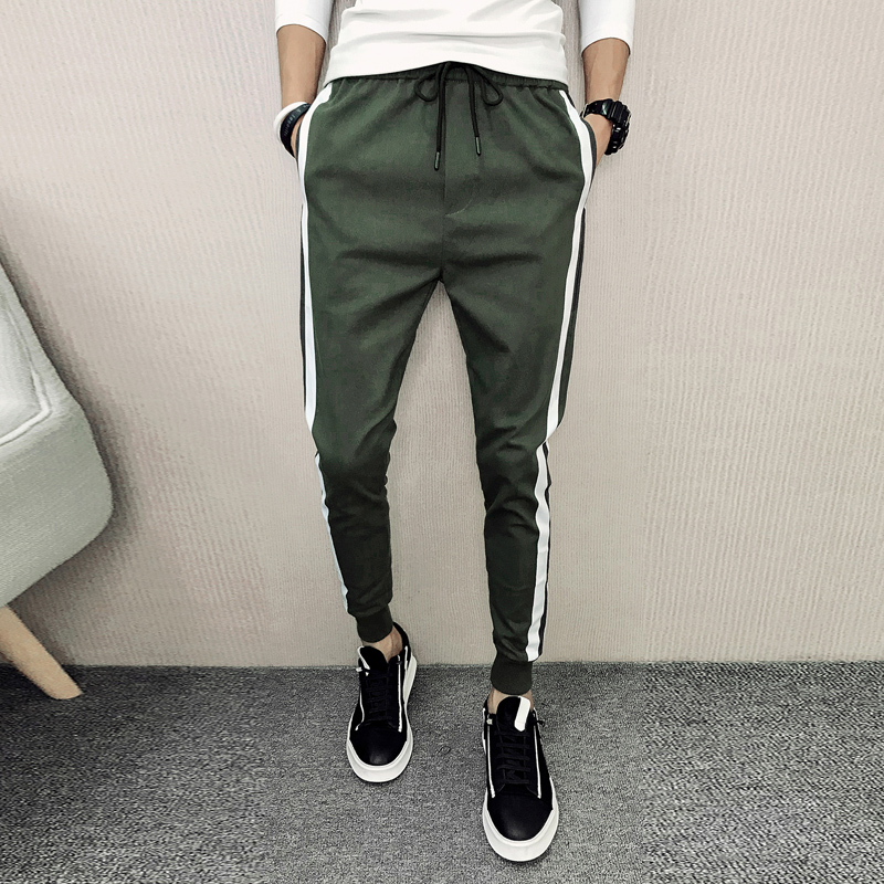 2018 Nouveau Hommes Harem de Pantalon Blanc Bande Cordon Casual Pantalons Hommes Slim Fit Pantalons Longs Mâle Hip Hop Streetwear mens Joggeurs