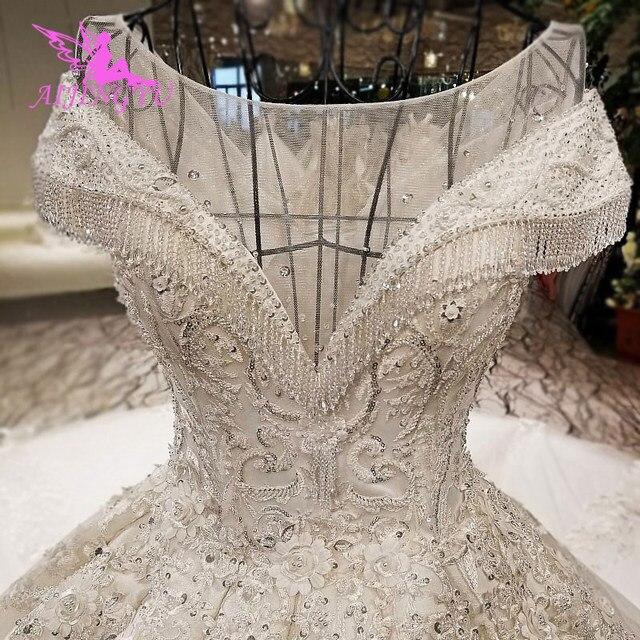 AIJINGYU 2021 فاخر كريستال تألق الماس الزواج جديد حار بيع ثوب الخامس الرقبة فساتين العروس الرسمية فستان الزفاف WT173