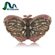Women Butterfly Shape Luxury Crystal Evening Bag with Chain Sisters Party Handbag Wedding Clutch Gold Silver