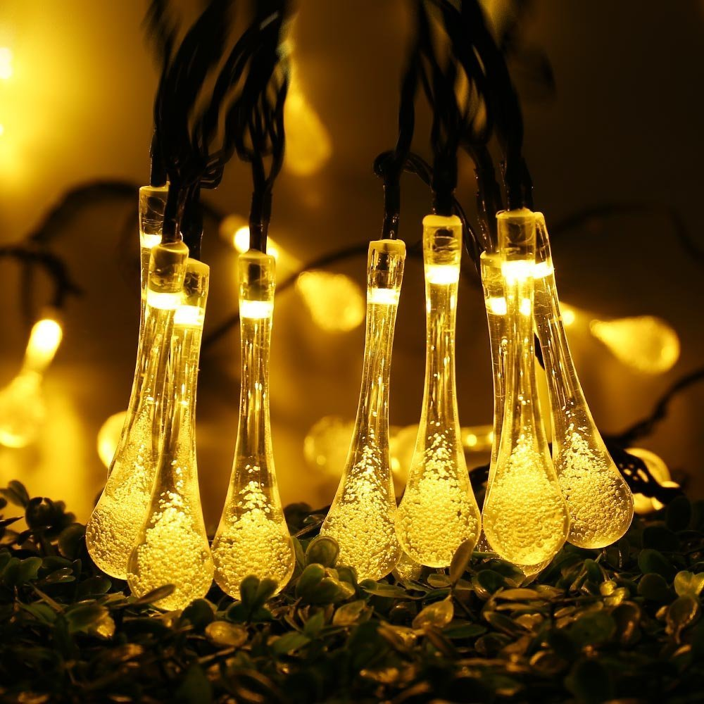 7m Solar Led Garlands String Fairy Lights Led Waterdrop Pendant Party Garden Home Decor Lamps Night Outdoor Christmas Light Led String Aliexpress