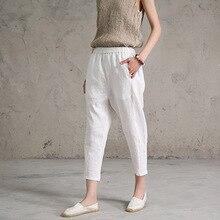 2018 Pleated Side White Pants Retro Art 100% Linen Ankle-Length Pants ankle length pleated pants