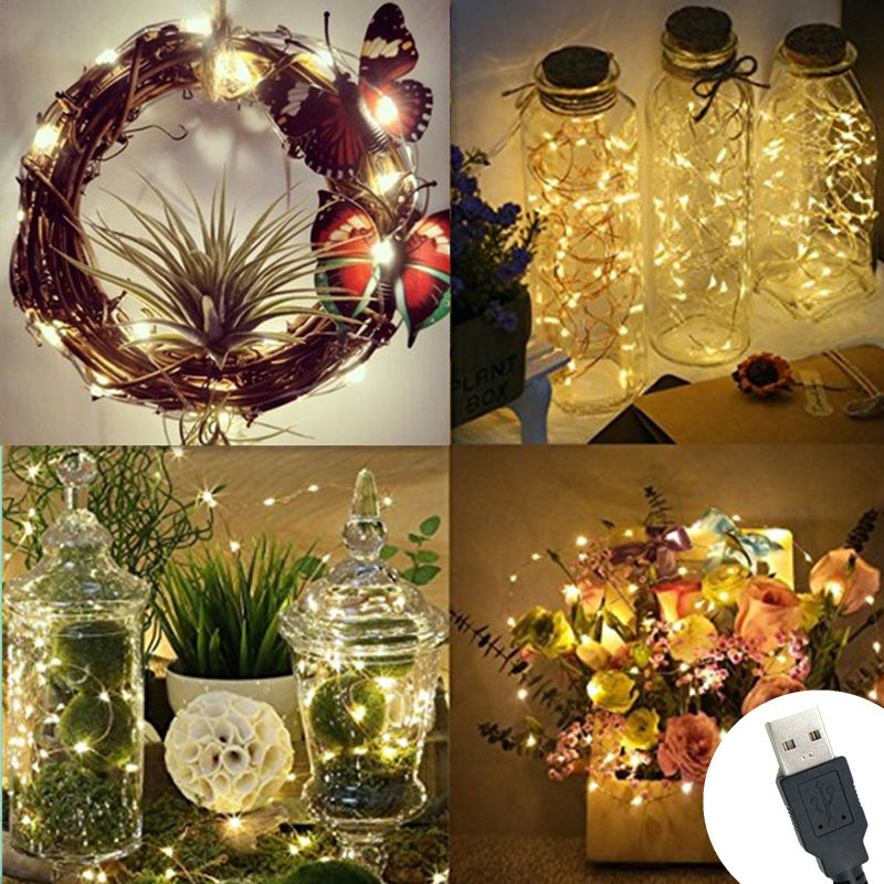DC 5V 2M 20LED USB Charger LED Strip Light USB Powered RGB Copper Wire Tape Holiday String Lighting Outdoor Fairy Christmas Tree