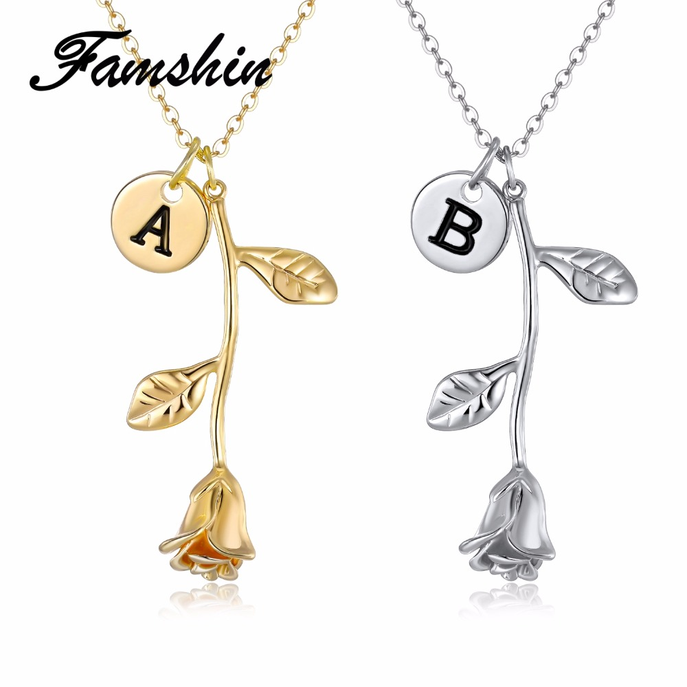 891cea845e024 FAMSHIN 26 Letter Personalized Name Jewelry Rose Engrave Letter Discs  Choker Monogram Rose Flower Necklace Pendant for Trendy